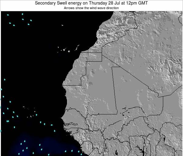 Mauritania Secondary Swell energy on Sunday 26 May at 6am GMT