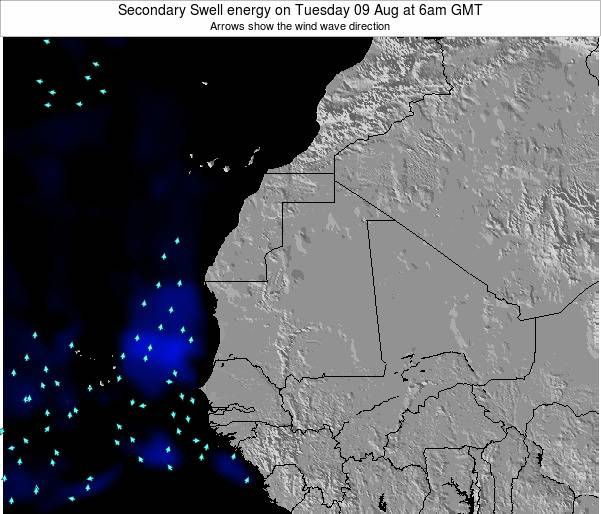 Mauritania Secondary Swell energy on Thursday 23 May at 6pm GMT