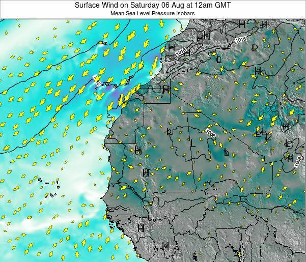 Gambia Surface Wind on Monday 21 Apr at 6am GMT