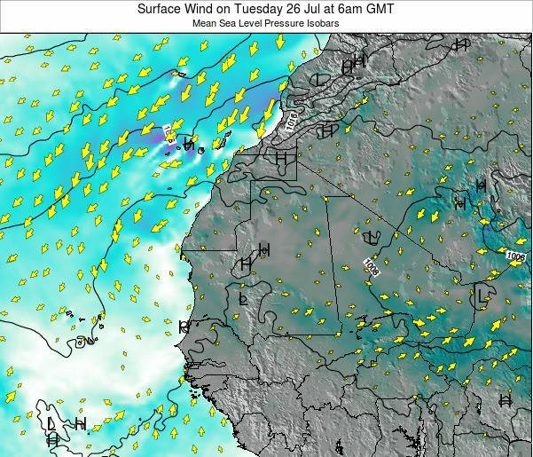 Gambia Surface Wind on Monday 22 Sep at 6pm GMT
