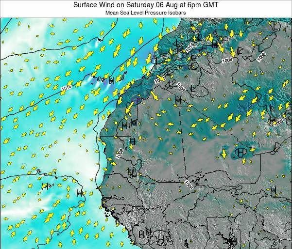 Gambia Surface Wind on Saturday 27 Aug at 6am GMT