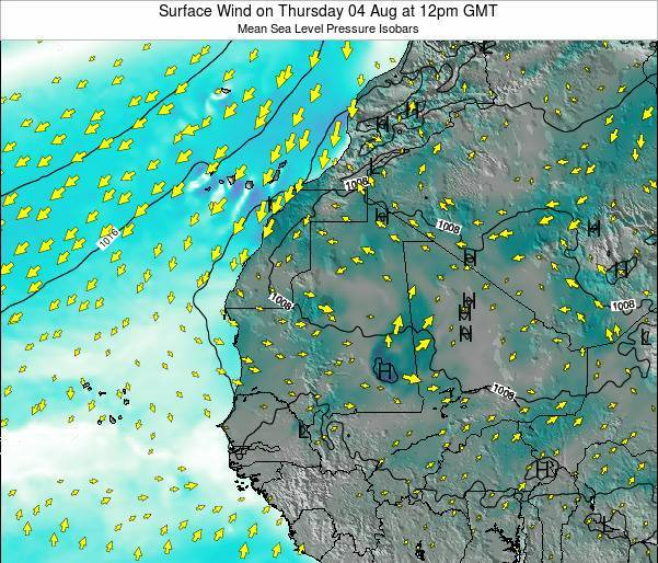 Gambia Surface Wind on Thursday 13 Mar at 6am GMT