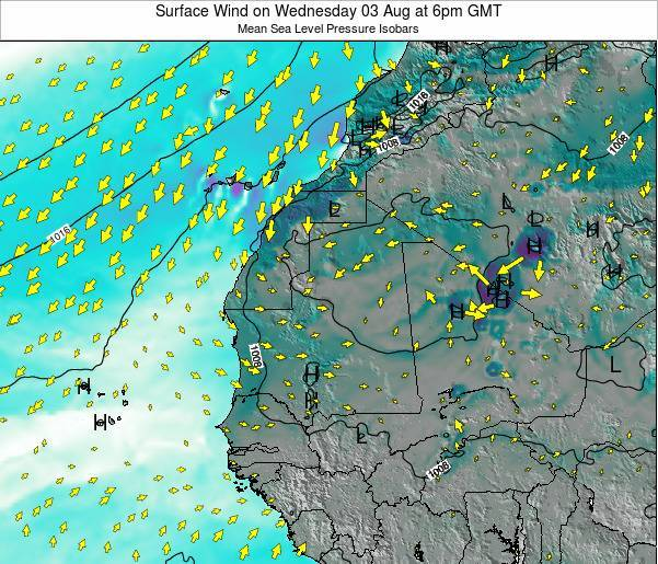 Gambia Surface Wind on Thursday 21 Aug at 12am GMT