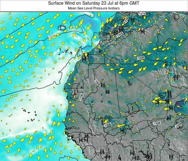 Gambia Surface Wind on Monday 28 Jul at 6pm GMT