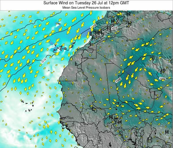 Sierra Leone Surface Wind on Thursday 20 Jun at 6am GMT map