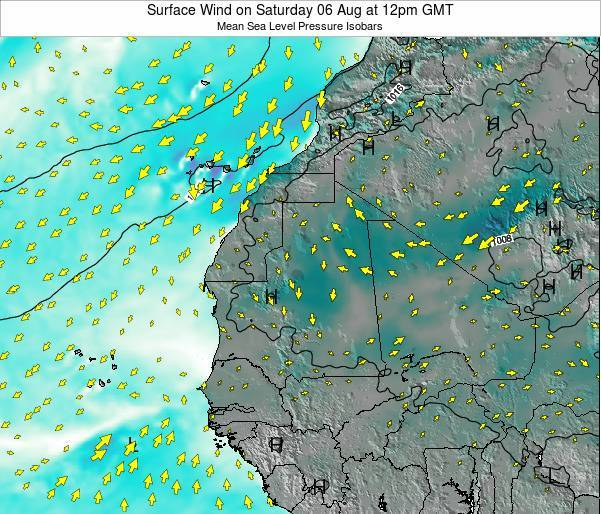 Gambia Surface Wind on Thursday 20 Jun at 12pm GMT