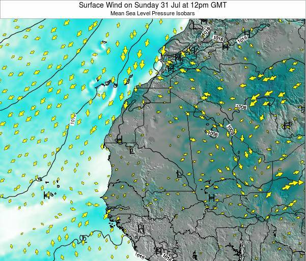 Sierra Leone Surface Wind on Sunday 26 May at 6pm GMT map