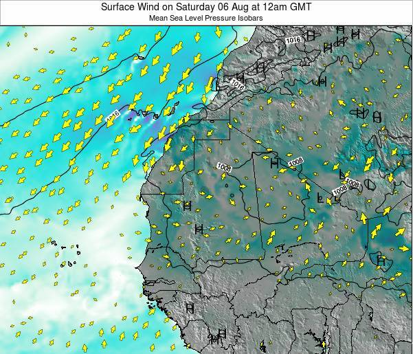 Sierra Leone Surface Wind on Friday 21 Jun at 6pm GMT map