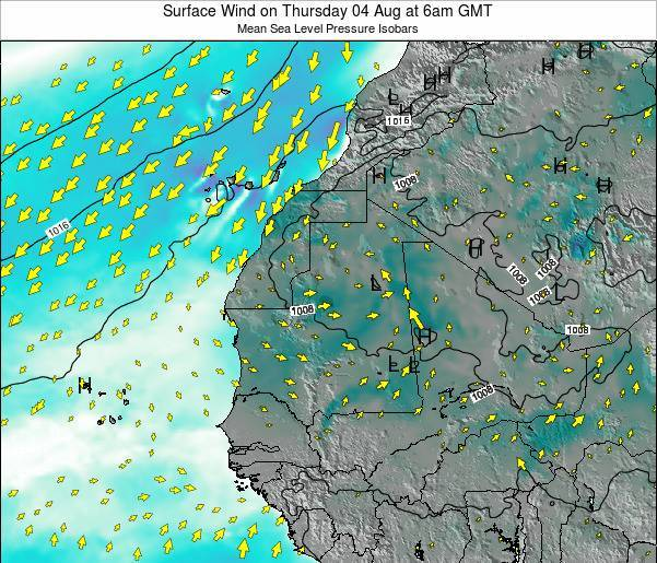 Guinea Surface Wind on Tuesday 18 Jun at 12am GMT