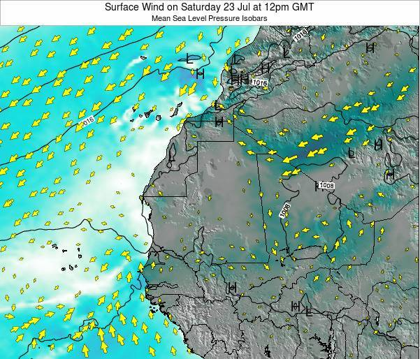 Cape Verde Surface Wind On Wednesday 13 Feb At 12pm Gmt