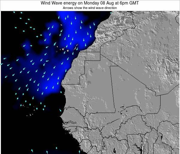 Sierra Leone Wind Wave energy on Tuesday 20 Nov at 12am GMT map