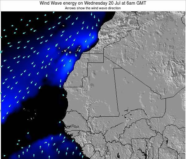 Sierra Leone Wind Wave energy on Wednesday 23 Jan at 12am GMT map