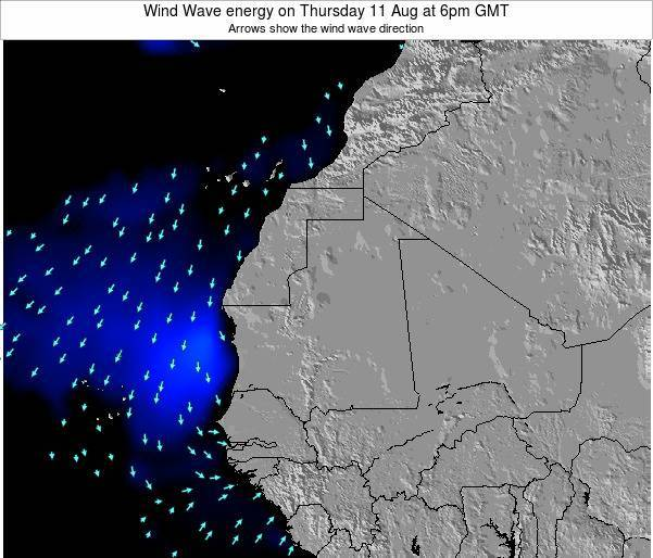 Sierra Leone Wind Wave energy on Monday 26 Feb at 6pm GMT map