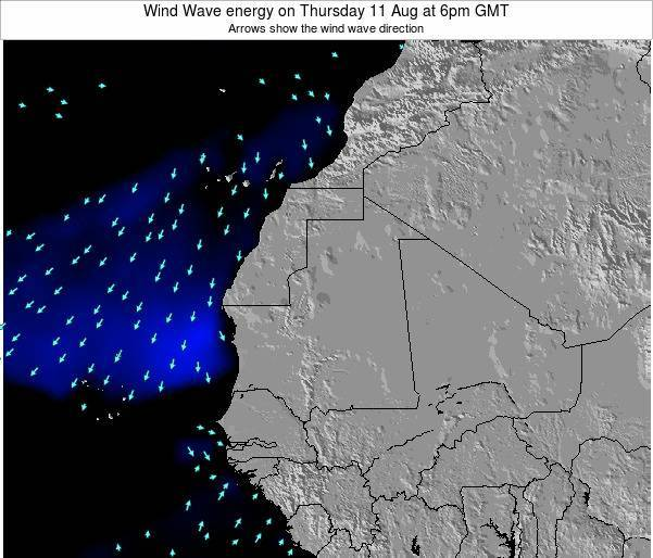 Sierra Leone Wind Wave energy on Friday 02 Mar at 12am GMT map
