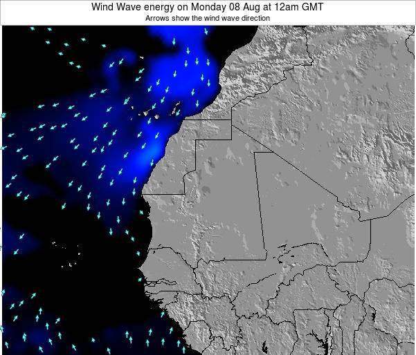 Sierra Leone Wind Wave energy on Monday 21 Jan at 6pm GMT map