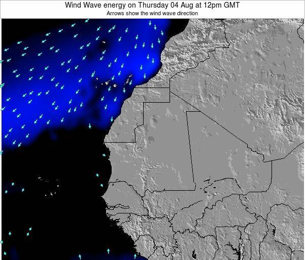 Sierra Leone Wind Wave energy on Monday 20 Aug at 12am GMT map