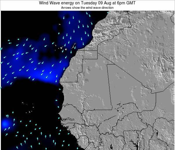 Sierra Leone Wind Wave energy on Wednesday 23 Jan at 6pm GMT map