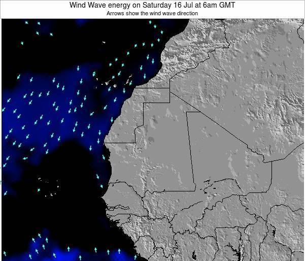 Guinea Wind Wave energy on Tuesday 22 Jan at 6am GMT map