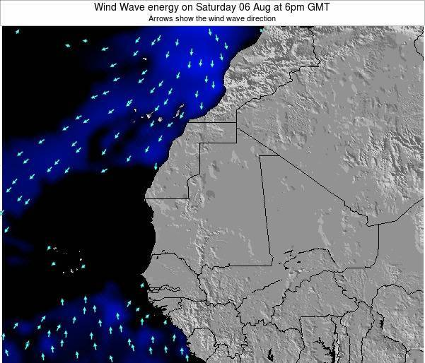 Cape Verde Wind Wave energy on Saturday 25 May at 6am GMT