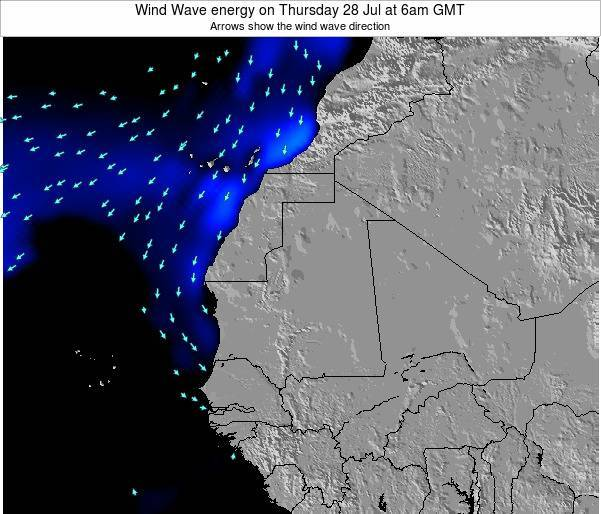 Sierra Leone Wind Wave energy on Monday 22 Jan at 12am GMT map