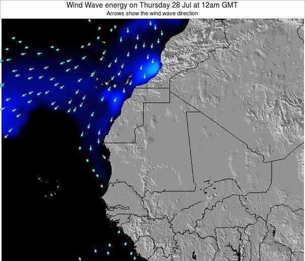 Sierra Leone Wind Wave energy on Monday 17 Dec at 12am GMT map
