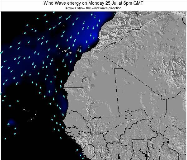Sierra Leone Wind Wave energy on Wednesday 23 Jan at 6am GMT map