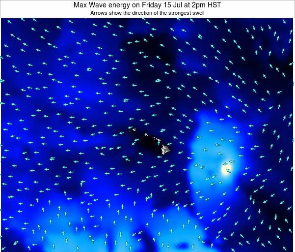 Hawaii, United States Max Wave energy on Monday 27 May at 8am HST