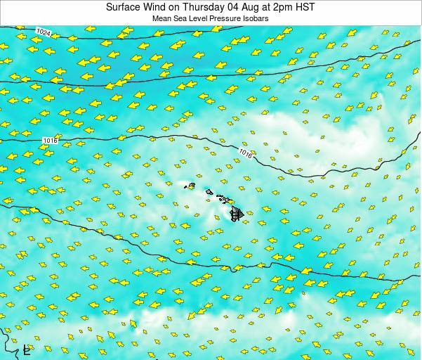 Hawaii, United States Surface Wind on Friday 13 Dec at 2pm HST
