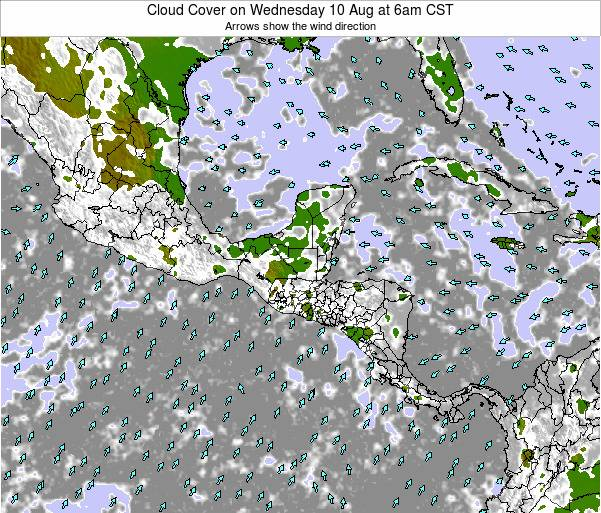 Costa Rica Cloud Cover on Saturday 15 Mar at 12am CST