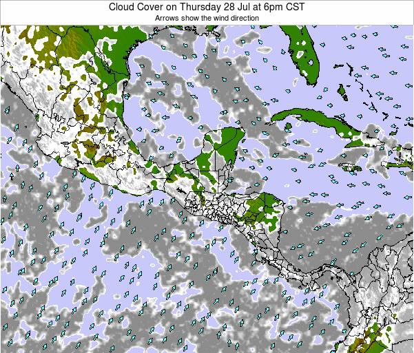 Costa Rica Cloud Cover on Saturday 02 Aug at 6pm CST