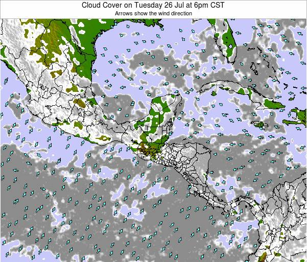 Costa Rica Cloud Cover on Wednesday 27 Aug at 6am CST