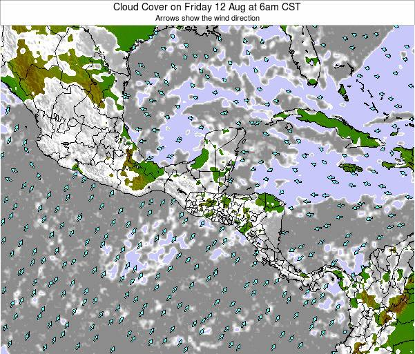 Costa Rica Cloud Cover on Wednesday 29 May at 6am CST