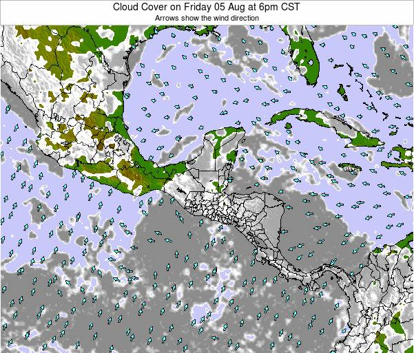Costa Rica Cloud Cover on Monday 28 Apr at 6am CST