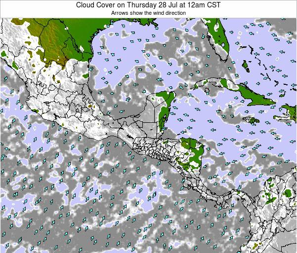 Nicaragua Cloud Cover on Wednesday 28 Aug at 12am CST map