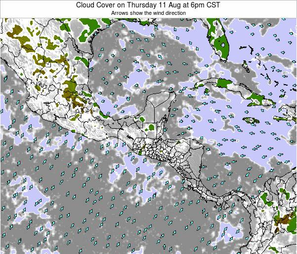 Nicaragua Cloud Cover on Saturday 27 Oct at 6am CST map