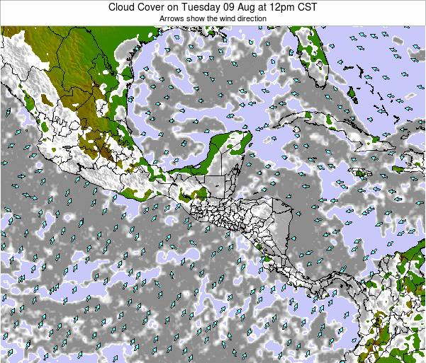 Nicaragua Cloud Cover on Wednesday 24 Jul at 12am CST map