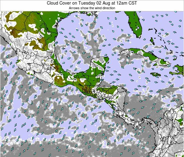 Costa Rica Cloud Cover on Monday 06 Apr at 6am CST