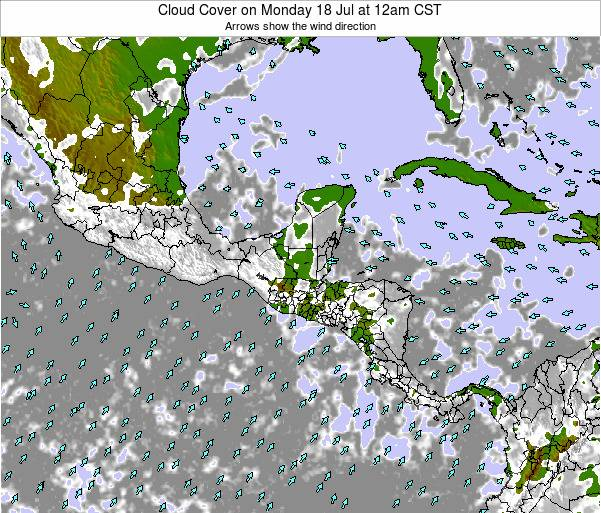 Honduras Cloud Cover on Saturday 02 Aug at 6pm CST