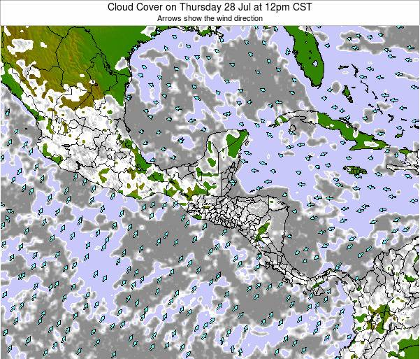 Costa Rica Cloud Cover on Wednesday 23 Apr at 12am CST