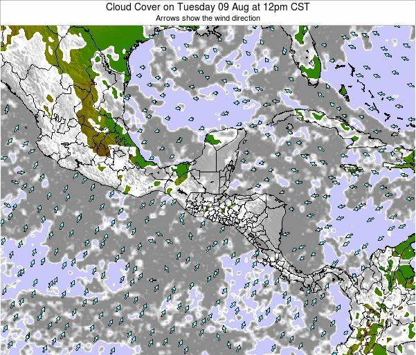 Honduras Cloud Cover on Friday 10 Jul at 6pm CST