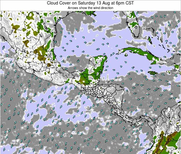 Costa Rica Cloud Cover on Monday 28 Apr at 12am CST