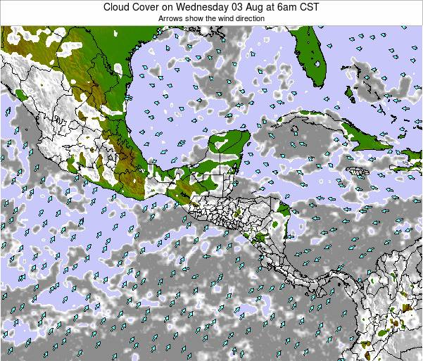 Honduras Cloud Cover on Monday 28 Apr at 6pm CST