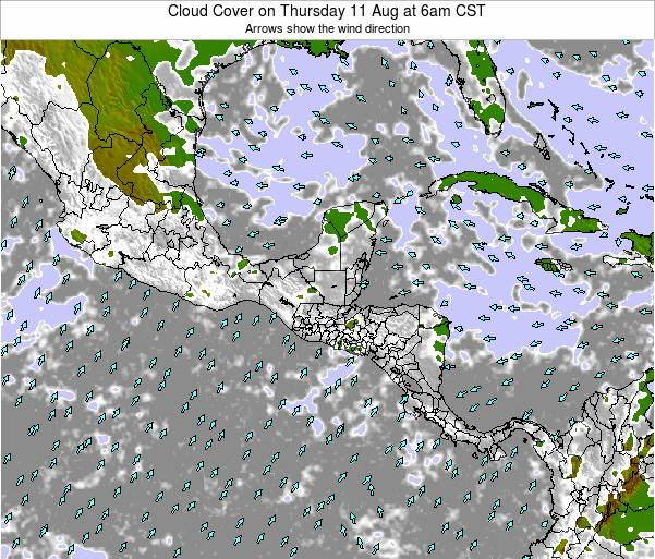 Costa Rica Cloud Cover on Monday 28 Jul at 12am CST