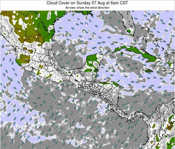 Costa Rica Cloud Cover on Thursday 30 May at 12am CST