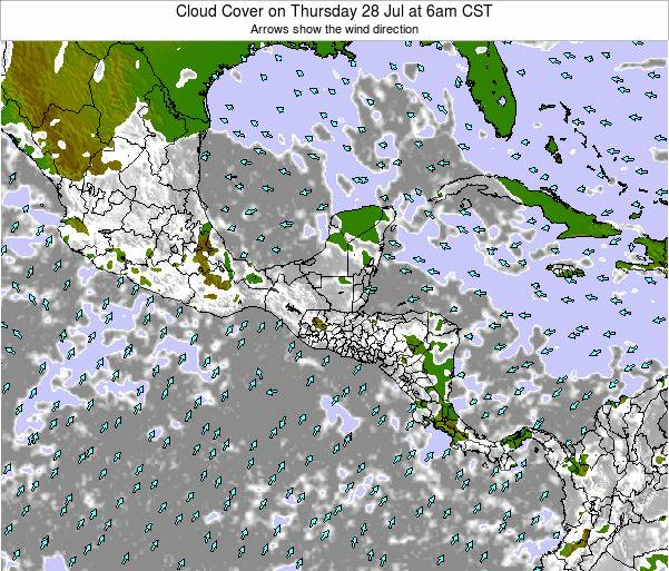 Honduras Cloud Cover on Thursday 11 Feb at 12pm CST