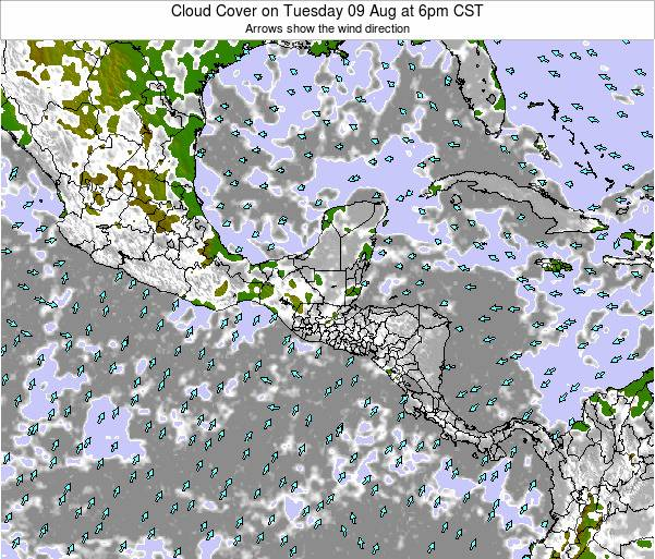 Honduras Cloud Cover on Saturday 22 Jun at 12pm CST