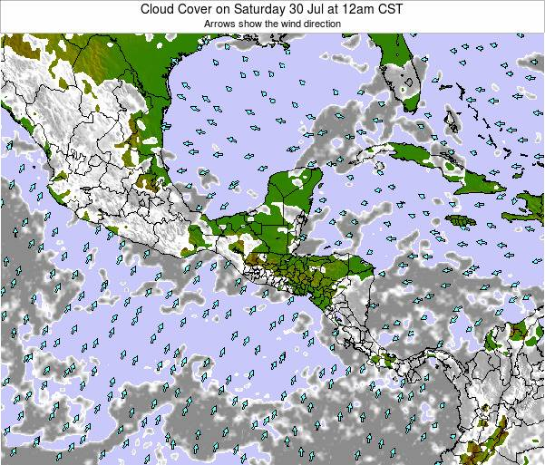 Honduras Cloud Cover on Saturday 15 Mar at 12am CST