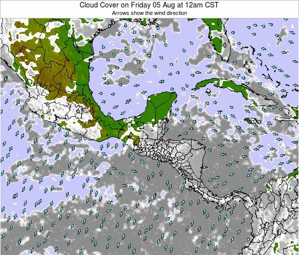 Honduras Cloud Cover on Friday 19 Sep at 12pm CST
