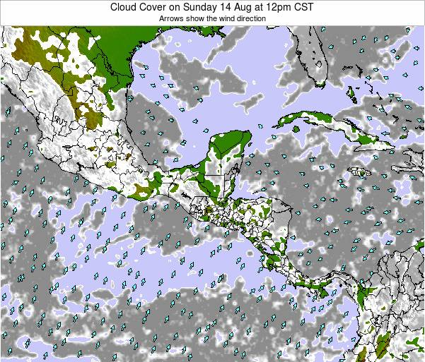 Nicaragua Cloud Cover on Wednesday 28 Aug at 6am CST map