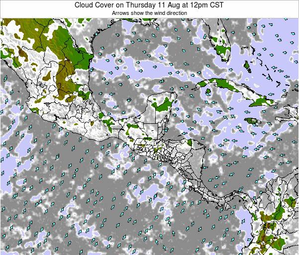 El Salvador Cloud Cover on Monday 24 Jun at 12am CST